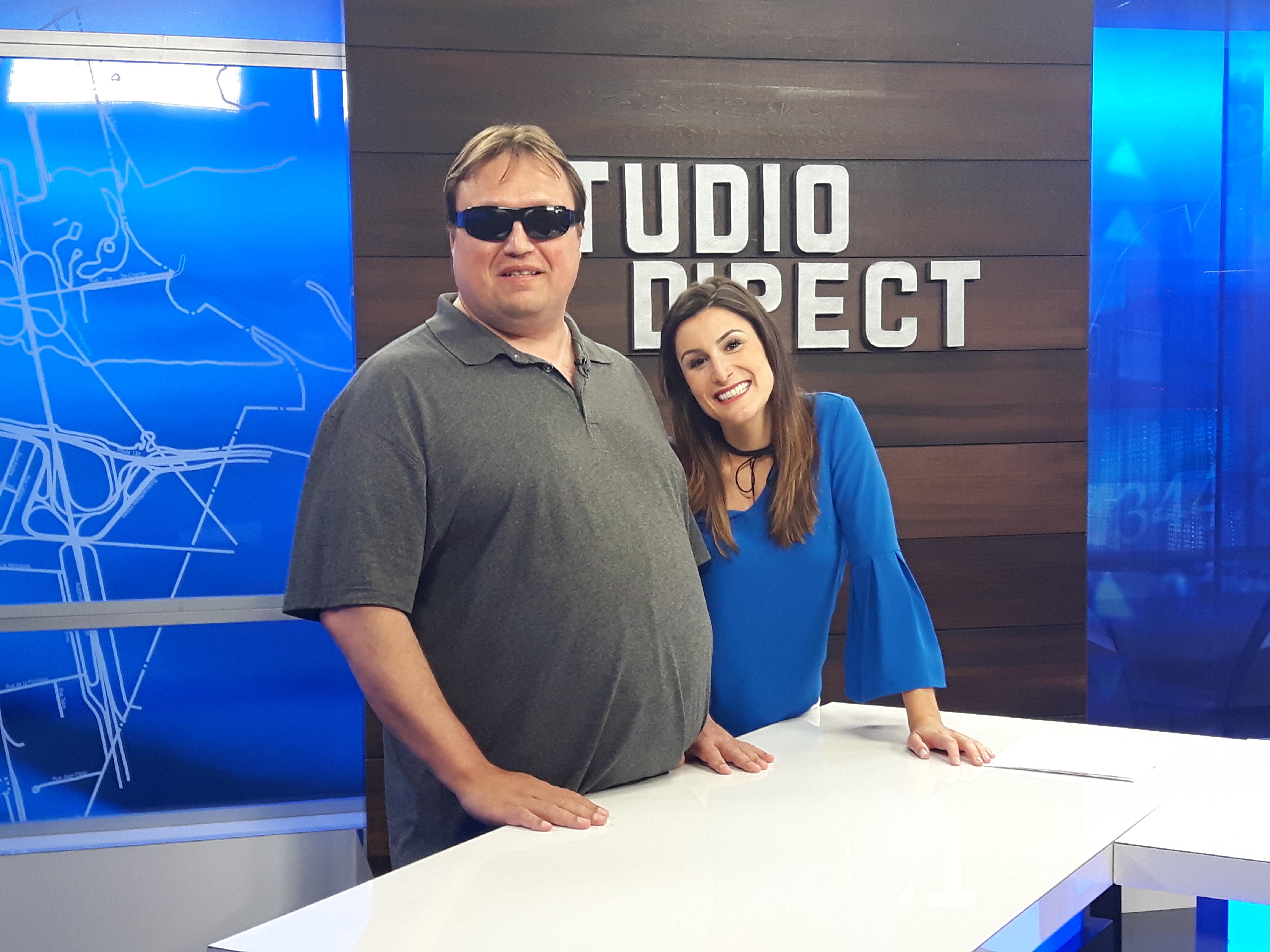 Martin Morin et Catherine Duranceau lors de l'émission «Studio direct» qui a eu lieu le 5 septembre 2017 à la Télévision de la Rive-Sud située à Longueuil.