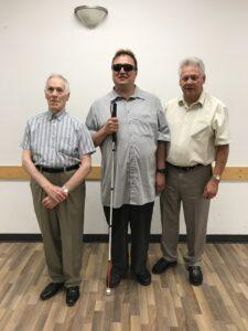 Pierre Bissonnette, Martin Morin et André Chaput lors de l'assemblée générale annuelle qui a eu lieu le samedi 28 juillet 2018 à la salle jubilée de l'Aréna Cynthia Coull située à Greenfiel Park.
