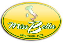 Logo. Restaurant Miss Bella. Mets italien. Pizza.